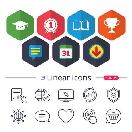 Calendar, speech bubble and download signs. Graduation icons on white background, vector illustration.