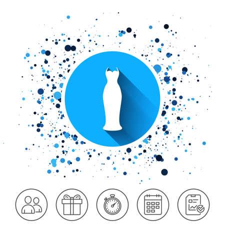 Bouton sur les cercles. Icône de signe de robe femme sur fond blanc, illustration vectorielle. Banque d'images - 88531730