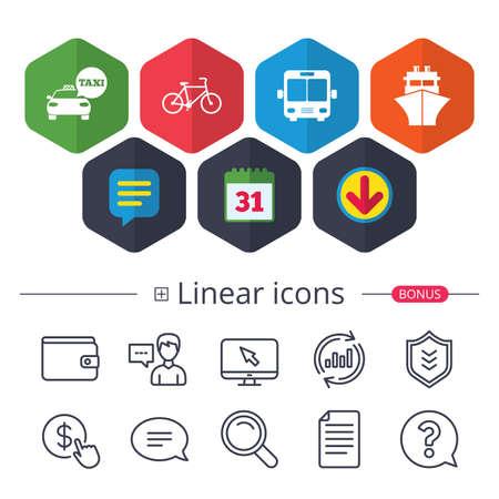 Calendar, speech bubble and download signs. Transport icons on white background, vector illustration. Ilustração