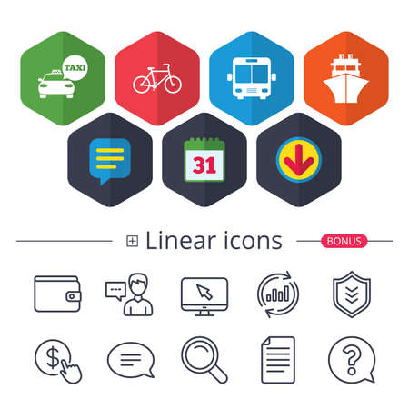 Calendar, speech bubble and download signs. Transport icons on white background, vector illustration. Illustration