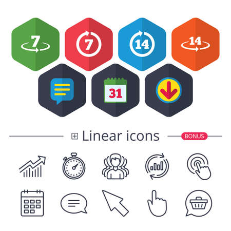 Calendar, speech bubble and download signs. Return of goods within 7 days icons vector illustration. 向量圖像