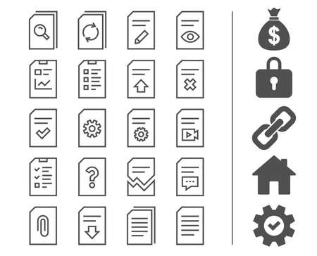 Document management line icons on white background, vector illustration.