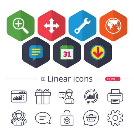 Calendar, speech bubble and download signs. Magnifier glass and globe search icons vector illustration.