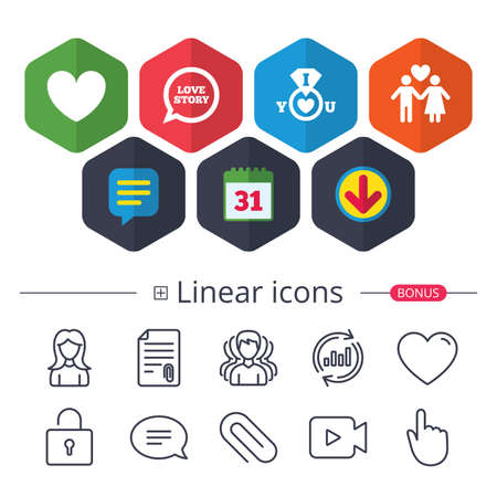 Calendar, Speech bubble and Download signs. Valentine day love icons. I love you ring symbol. Couple lovers sign. Love story speech bubble. Chat, Report graph line icons. More linear signs. Vector Illusztráció