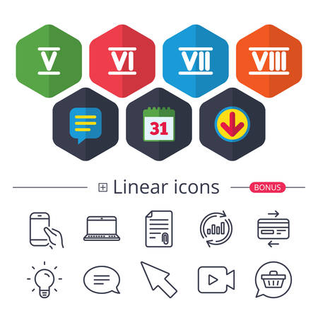Calendar, Speech bubble and Download signs. Roman numeral icons. 5, 6, 7 and 8 digit characters. Ancient Rome numeric system. Chat, Report graph line icons. More linear signs. Editable stroke. Vector