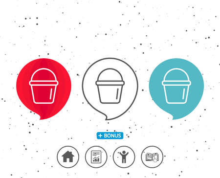 Speech bubbles with symbol. Cleaning bucket line icon. Washing Housekeeping equipment sign. Bonus with different classic signs. Random circles background. Vector Ilustrace