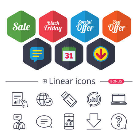 Calendar, Speech bubble and Download signs. Sale icons. Best special offer symbols. Black friday sign. Chat, Report graph line icons. More linear signs. Editable stroke. Vector Illustration