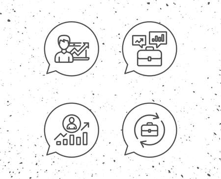 Speech bubbles with signs. Portfolio case, Business results and HR line icons. Job Analytics, Growth chart and Business case signs. Grunge background. Editable stroke. Vector