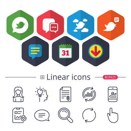 Calendar, Speech bubble and Download signs. Birds icons. Social media speech bubble. Short messages chat symbol. Chat, Report graph line icons. More linear signs. Editable stroke. Vector 向量圖像