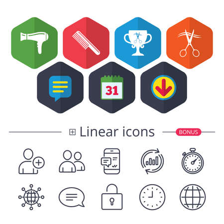 Calendar, Speech bubble and Download signs. Hairdresser icons. Scissors cut hair symbol. Comb hair with hairdryer symbol. Barbershop winner award cup. Chat, Report graph line icons. More linear signs