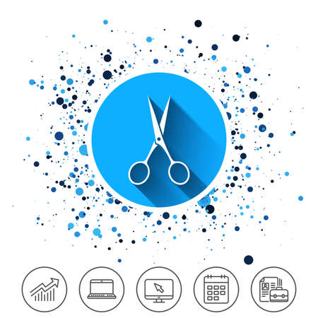 Button on circles background. Scissors hairdresser sign icon. Tailor symbol. Calendar line icon. And more line signs. Random circles. Editable stroke. Vector Illusztráció