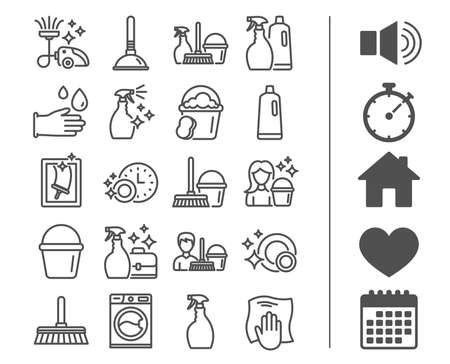 Cleaning line icons. Laundry, Sponge and Vacuum cleaner signs. Washing machine, Housekeeping service and Maid equipment symbols. Window cleaning and Wipe off. Bonus classic signs. Editable stroke