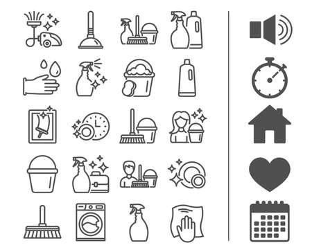Icone delle linee di pulizia. Segni di lavanderia, spugna e aspirapolvere. Lavatrice, servizio di pulizia e simboli delle attrezzature della domestica. Pulizia della finestra e pulizia. Bonus classici segni. Tratto modificabile
