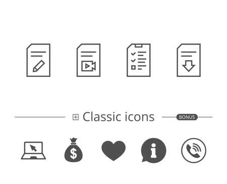 Document-, checklist- en Download file-lijn iconen. Documentbeheer, Wijzig document- en videobestandsborden. Informatie tekstballon teken. En meer tekenen. Bewerkbare lijn. Vector