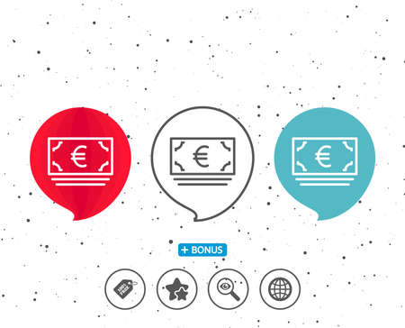 Speech bubbles with symbol. Cash money line icon. Banking currency sign. Euro or EUR symbol. Bonus with different classic signs. Random circles background. Vector