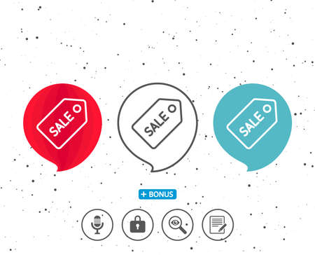 Speech bubbles with symbol. Shopping tag line icon. Sale Special offer sign. Coupon symbol. Bonus with different classic signs. Random circles background. Vector Ilustrace