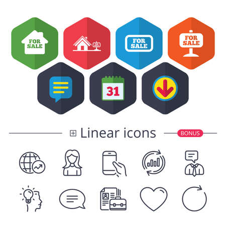 Calendar, Speech bubble and Download signs. For sale icons. Real estate selling signs. Home house symbol. Chat, Report graph line icons. More linear signs. Editable stroke. Vector Ilustracja
