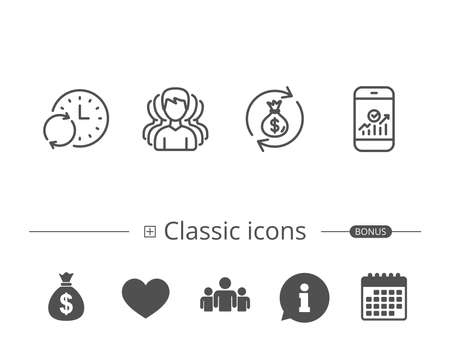 Group of people, Money bag and Analytics on smartphone line icons. Update time and Cash transfer symbols. Information speech bubble sign. And more signs. Editable stroke. Vector