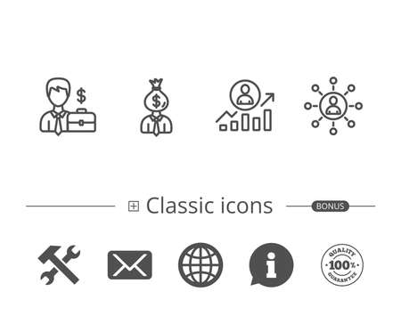 Business Networking, Portfolio and Job results line icons. Businessman, Earnings and Growth chart signs. Information speech bubble sign. And more signs. Editable stroke. Vector Illustration