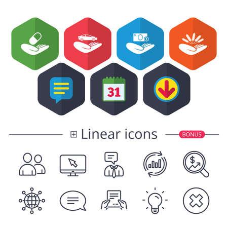 Calendario, bocadillo de diálogo y signos de descarga. Helping hands icons vector illustration. Foto de archivo - 88530061