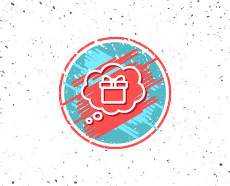 Grunge button with symbol. Dreaming of Gift line icon. Present box in Comic speech bubble sign. Birthday Shopping symbol. Package in Gift Wrap. Random background. Vector Illustration