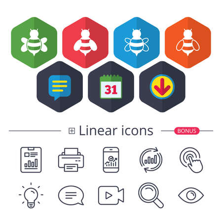 Calendar, Speech bubble and Download signs. Honey bees icons. Bumblebees symbols. Flying insects with sting signs. Chat, Report graph line icons. More linear signs. Editable stroke. Vector