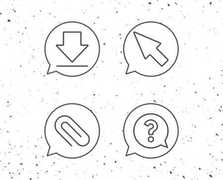 吹き出し記号。ダウンロード、添付ファイルのクリップ、カーソル行のアイコン。音声バブル記号に疑問符。グランジ背景。編集可能なストローク
