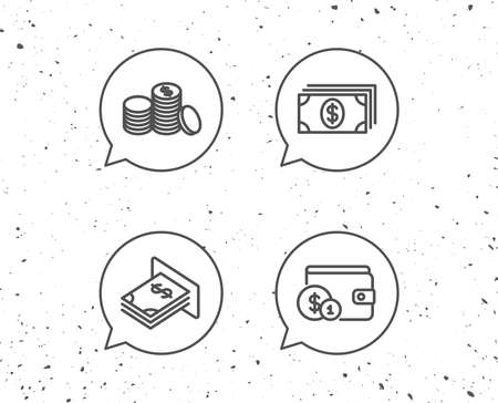 Speech bubbles with signs. Money, Cash and Wallet line icons. ATM, Currency and Coins signs. Banking and Dollar symbols. Grunge background. Editable stroke. Vector Illustration