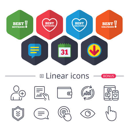 Calendar, Speech bubble and Download signs. Best boyfriend and girlfriend icons. Heart love signs. Awards with exclamation symbol. Chat, Report graph line icons. More linear signs. Editable stroke