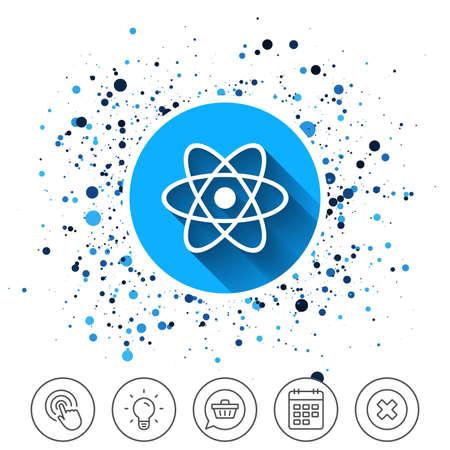 サークルの背景にボタン。原子記号のアイコン。原子の一部の記号です。カレンダー ライン アイコン。より線標識。ランダムな円。編集可能なスト
