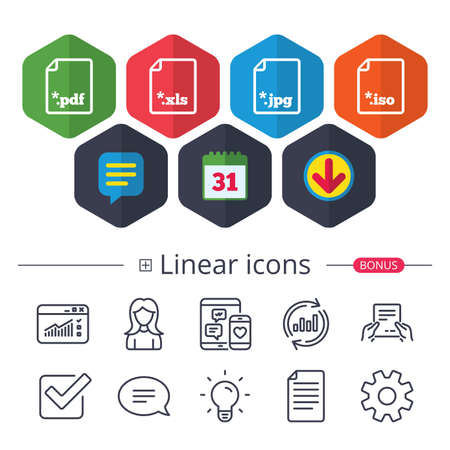 Calendar, Speech bubble and Download signs. Download document icons. File extensions symbols. PDF, XLS, JPG and ISO virtual drive signs. Chat, Report graph line icons. More linear signs. Vector