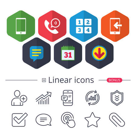 Calendar, Speech bubble and Download signs. Phone icons. Smartphone incoming call sign. Call center support symbol. Cellphone keyboard symbol. Chat, Report graph line icons. More linear signs. Vector Иллюстрация
