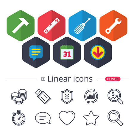 Calendar, Speech bubble and Download signs. Screwdriver and wrench key tool icons. Bubble level and hammer sign symbols. Chat, Report graph line icons. More linear signs. Editable stroke. Vector