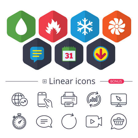 Calendar, Speech bubble and Download signs. HVAC icons. Heating, ventilating and air conditioning symbols. Water supply. Climate control technology signs. Chat, Report graph line icons. Vector Imagens - 88533888