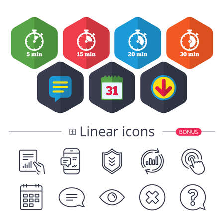 Calendar, Speech bubble and Download signs. Timer icons. 5, 15, 20 and 30 minutes stopwatch symbols. Chat, Report graph line icons. More linear signs. Editable stroke. Vector Stok Fotoğraf - 90085727