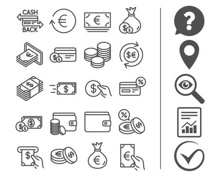 Money line icons. Set of Credit card, Cash and Coins signs. Banking, Currency exchange and Cashback service. Wallet, Euro and Dollar symbols. Bonus classic signs. Editable stroke. Vector Illustration
