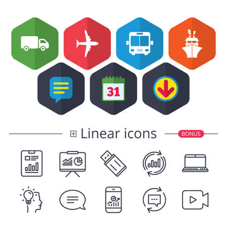 Calendar, Speech bubble and Download signs. Transport icons. Truck, Airplane, Public bus and Ship signs. Shipping delivery symbol. Air mail delivery sign. Chat, Report graph line icons. Vector