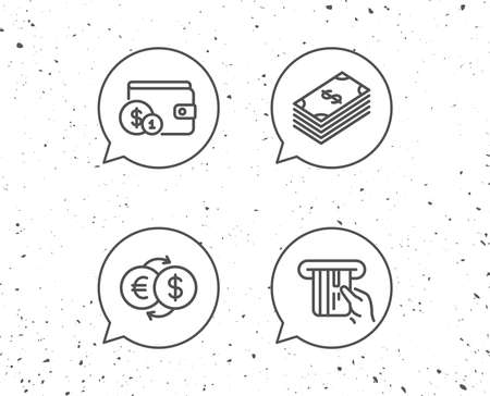 Speech bubbles with signs. Money, Cash and Wallet line icons. Credit card, Currency exchange and Coins signs. Banking, Euro and Dollar symbols. Grunge background. Editable stroke. Vector Illustration