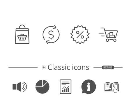 Shopping cart, Discount and Dollar line icons. Update currency sign. Information speech bubble sign. And more signs. Editable stroke. Vector