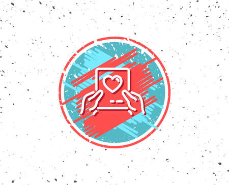Grunge button with symbol. Valentines day mail line icon. Love letter symbol. Heart sign. Random background. Vector