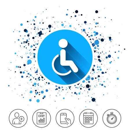 Button on circles background. Disabled sign icon. Human on wheelchair symbol. Handicapped invalid sign. Calendar line icon. And more line signs. Random circles. Editable stroke. Vector