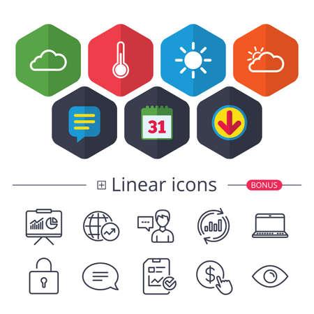 달력, 연설 거품 및 다운로드 표지판. 날씨 아이콘입니다. 구름과 태양이 표지판. 온도계 온도 기호입니다. 채팅, 그래프 그래프 아이콘을보고합니다.