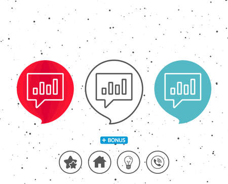 Speech bubbles with symbol. Chart line icon. Report graph or Sales growth sign in speech bubble. Analysis and Statistics data symbol. Bonus with different classic signs. Random circles background Ilustrace