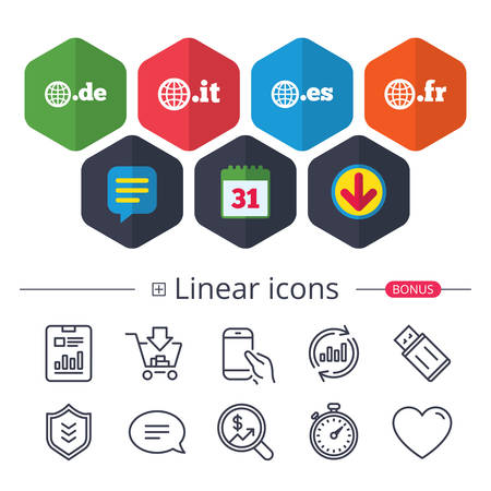 Calendar, Speech bubble and Download signs. Top-level internet domain icons. De, It, Es and Fr symbols with globe. Unique national DNS names. Chat, Report graph line icons. More linear signs. Vector Illustration