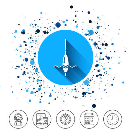Button on circles background. Fishing sign icon. Float bobber symbol. Fishing tackle. Calendar line icon. And more line signs. Random circles. Editable stroke. Vector Stock fotó - 89712332