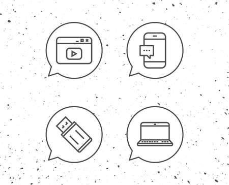 징후와 연설 거품입니다. 노트북, USB 플래시 드라이브 및 브라우저 창 라인 아이콘. 스마트 폰 통신 기호입니다. 컴퓨터 장치. 그런 지 배경입니다. 편