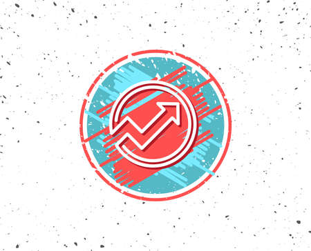 Grunge button with symbol. Chart line icon. Report graph or Sales growth sign in circle. Analysis and Statistics data symbol. Random background. Vector Ilustração