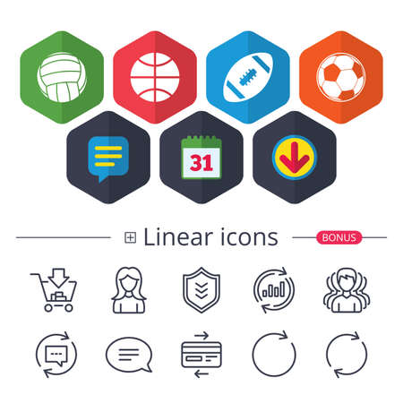 Calendar, Speech bubble and Download signs. Sport balls icons. Volleyball, Basketball, Soccer and American football signs. Team sport games. Chat, Report graph line icons. More linear signs. Vector Illustration