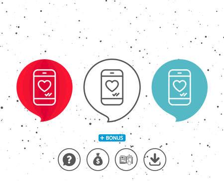 연설 거품 기호입니다. 심장 줄 아이콘을 가진 전화. 기호와 같은 소셜 미디어. 스마트 폰 사랑 메시지 기호입니다. 다른 고전적인 표시가있는 보너스.  일러스트