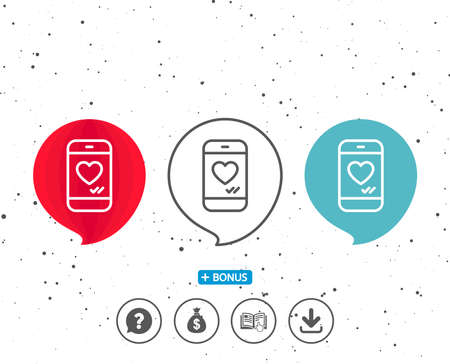 Speech bubbles with symbol. Phone with heart line icon. Social media like sign. Smartphone Love message symbol. Bonus with different classic signs. Random circles background. Vector